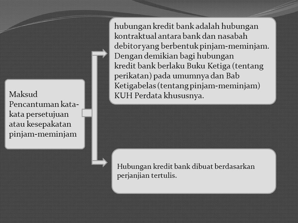 Maksud Pencantuman kata- kata persetujuan atau kesepakatan pinjam-meminjam hubungan kredit bank adalah hubungan kontraktual antara bank dan nasabah debitor yang berbentuk pinjam-meminjam.