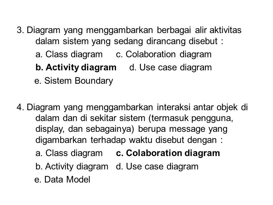 3. Diagram yang menggambarkan berbagai alir aktivitas dalam sistem yang sedang dirancang disebut : a. Class diagramc. Colaboration diagram b. Activity