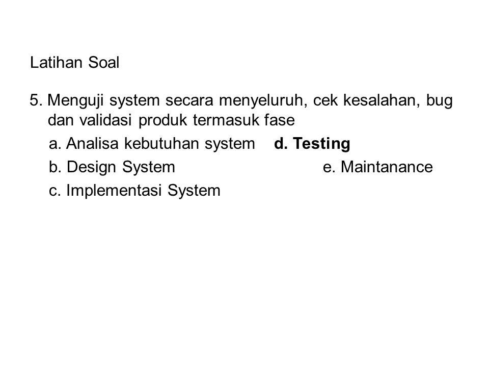 Latihan Soal 5. Menguji system secara menyeluruh, cek kesalahan, bug dan validasi produk termasuk fase a. Analisa kebutuhan system d. Testing b. Desig
