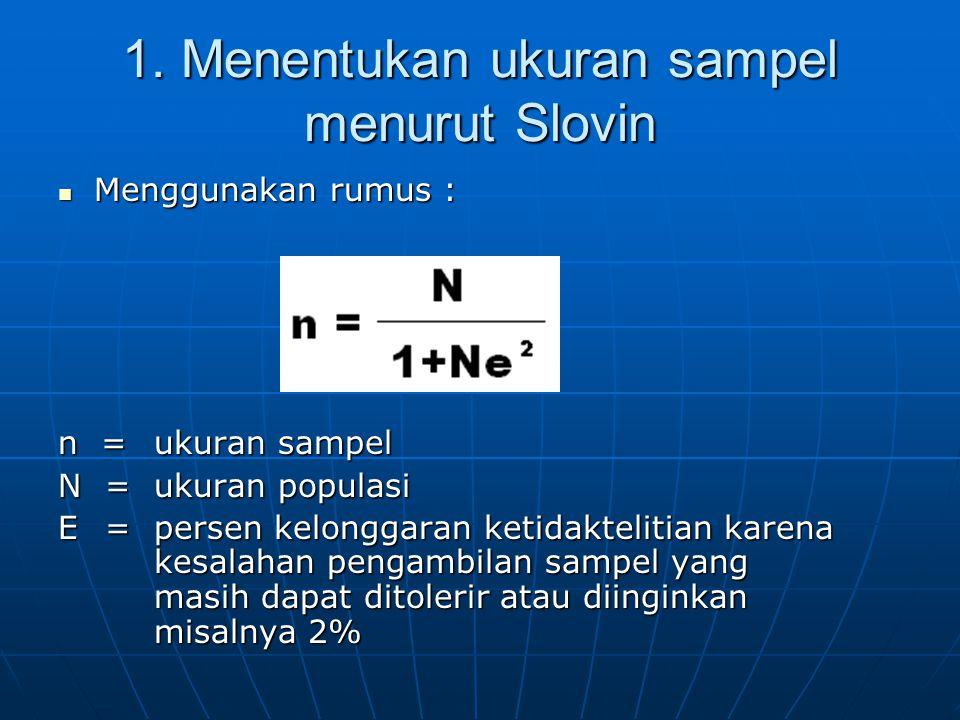 1. Menentukan ukuran sampel menurut Slovin  Menggunakan rumus : n = ukuran sampel N = ukuran populasi E = persen kelonggaran ketidaktelitian karena k