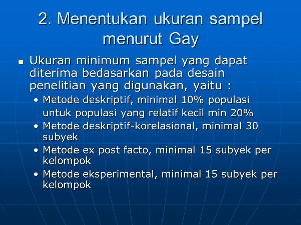  Ukuran minimum sampel yang dapat diterima bedasarkan pada desain penelitian yang digunakan, yaitu : •Metode deskriptif, minimal 10% populasi untuk p