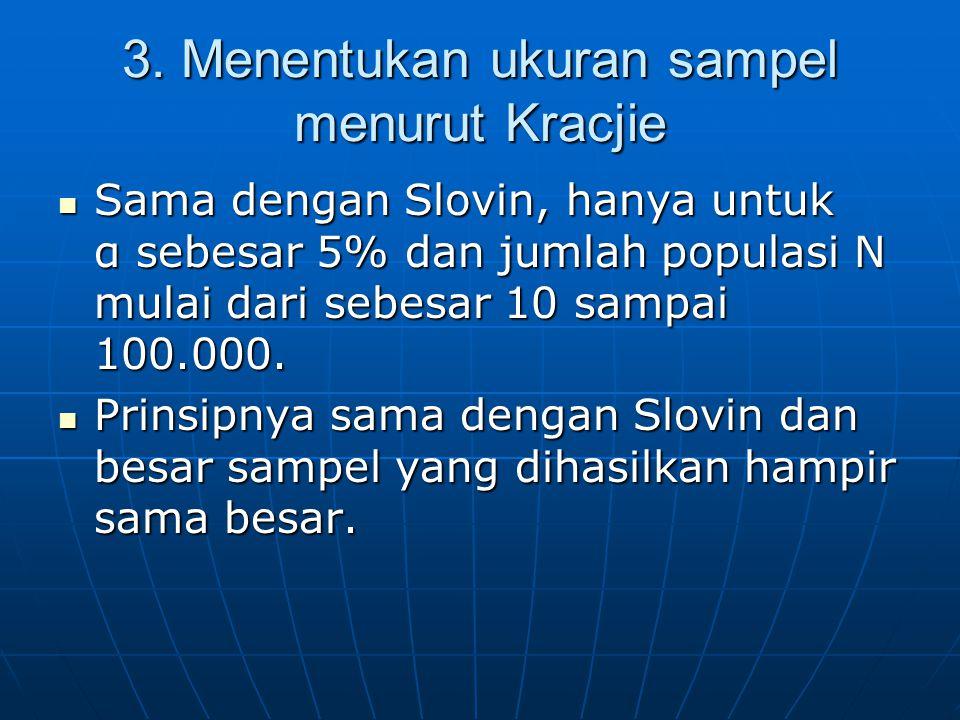  Sama dengan Slovin, hanya untuk α sebesar 5% dan jumlah populasi N mulai dari sebesar 10 sampai 100.000.  Prinsipnya sama dengan Slovin dan besar s