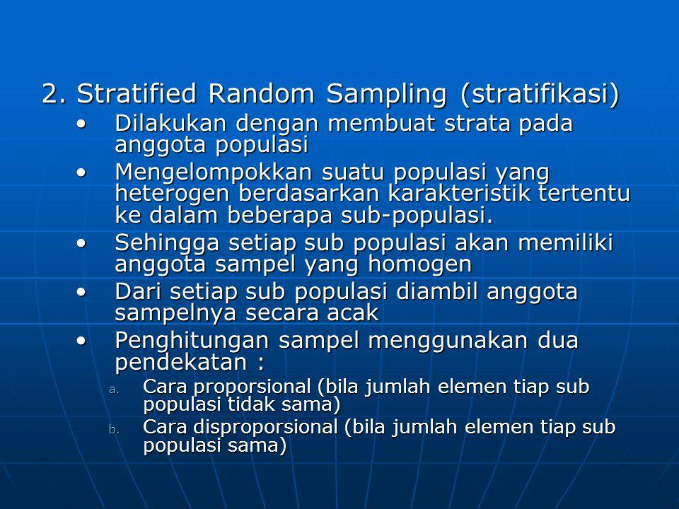 2. Stratified Random Sampling (stratifikasi) •Dilakukan dengan membuat strata pada anggota populasi •Mengelompokkan suatu populasi yang heterogen berd