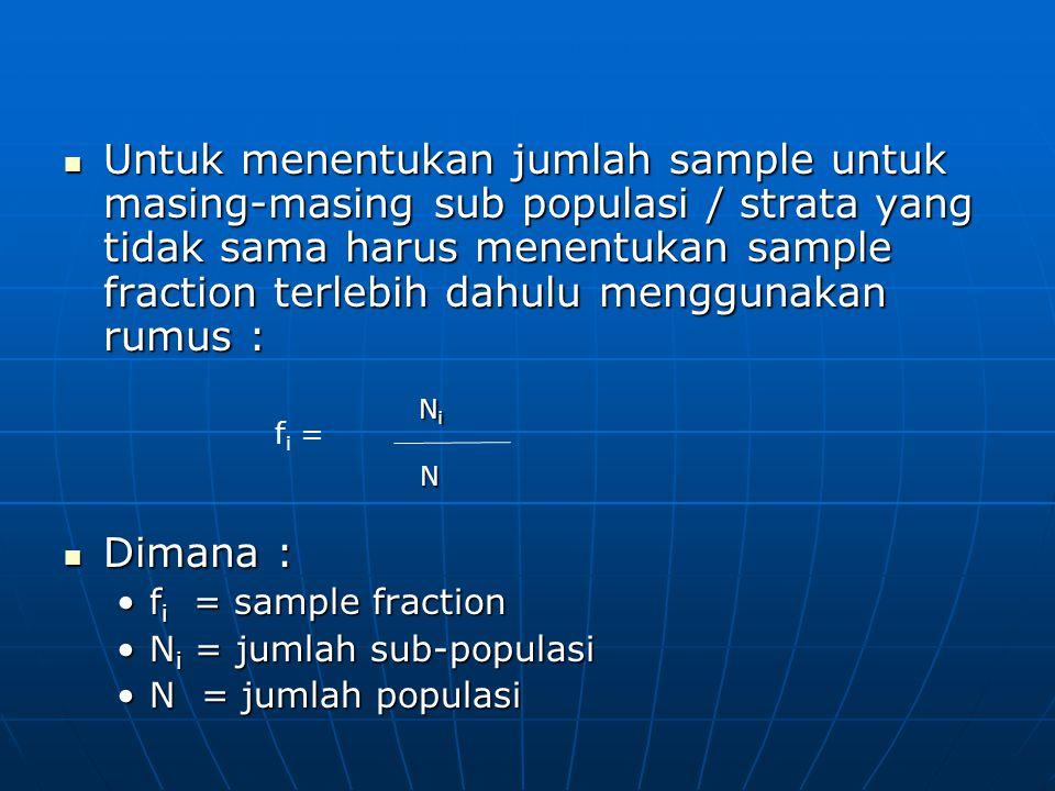 Untuk menentukan jumlah sample untuk masing-masing sub populasi / strata yang tidak sama harus menentukan sample fraction terlebih dahulu menggunaka