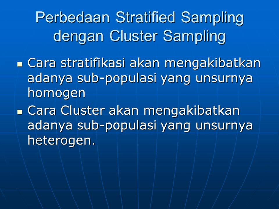 Perbedaan Stratified Sampling dengan Cluster Sampling  Cara stratifikasi akan mengakibatkan adanya sub-populasi yang unsurnya homogen  Cara Cluster