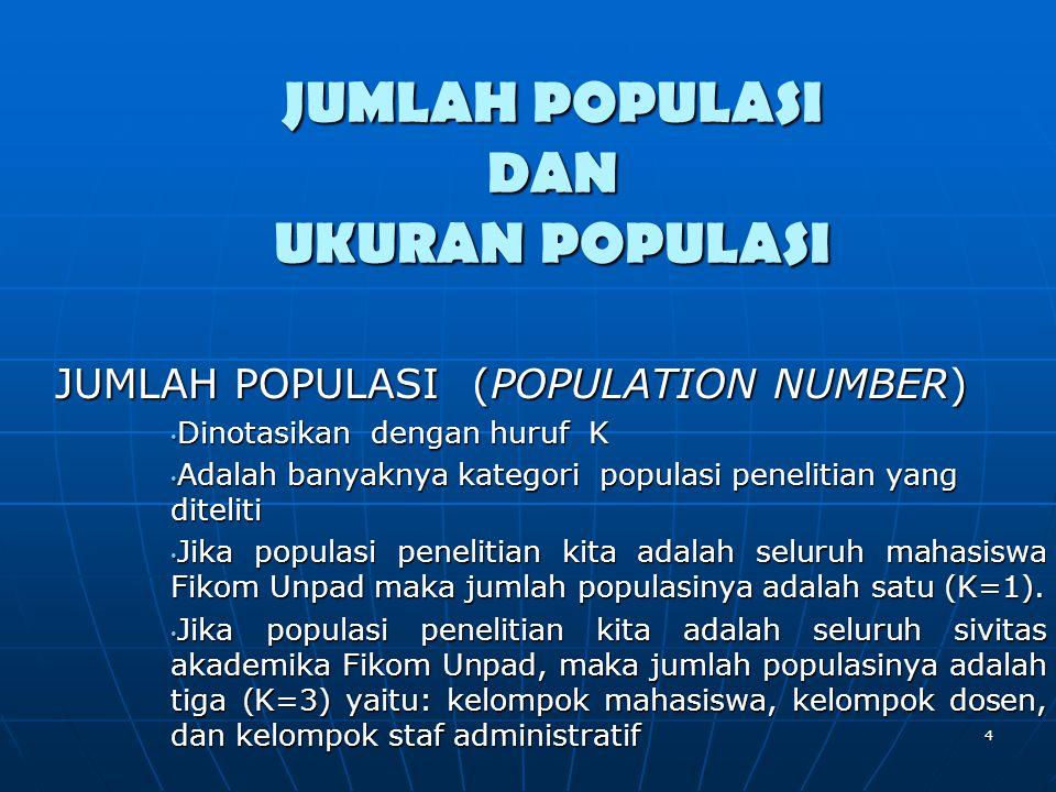 JUMLAH POPULASI (POPULATION NUMBER) • Dinotasikan dengan huruf K • Adalah banyaknya kategori populasi penelitian yang diteliti • Jika populasi penelit