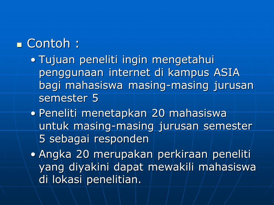  Contoh : •Tujuan peneliti ingin mengetahui penggunaan internet di kampus ASIA bagi mahasiswa masing-masing jurusan semester 5 •Peneliti menetapkan 2