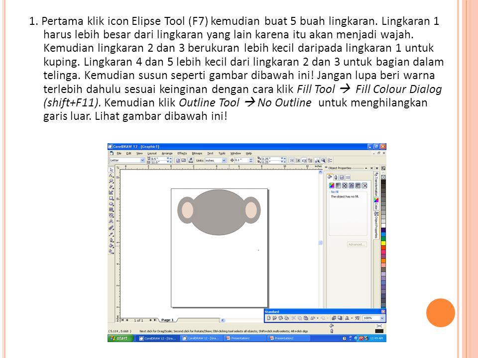 1. Pertama klik icon Elipse Tool (F7) kemudian buat 5 buah lingkaran.