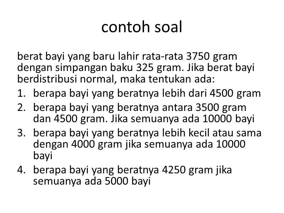 • Jawab • dengan x = berat bayi dalam gram,  = 3750 gram,  = 325 gram, maka: a. x = 4500 = 2,31