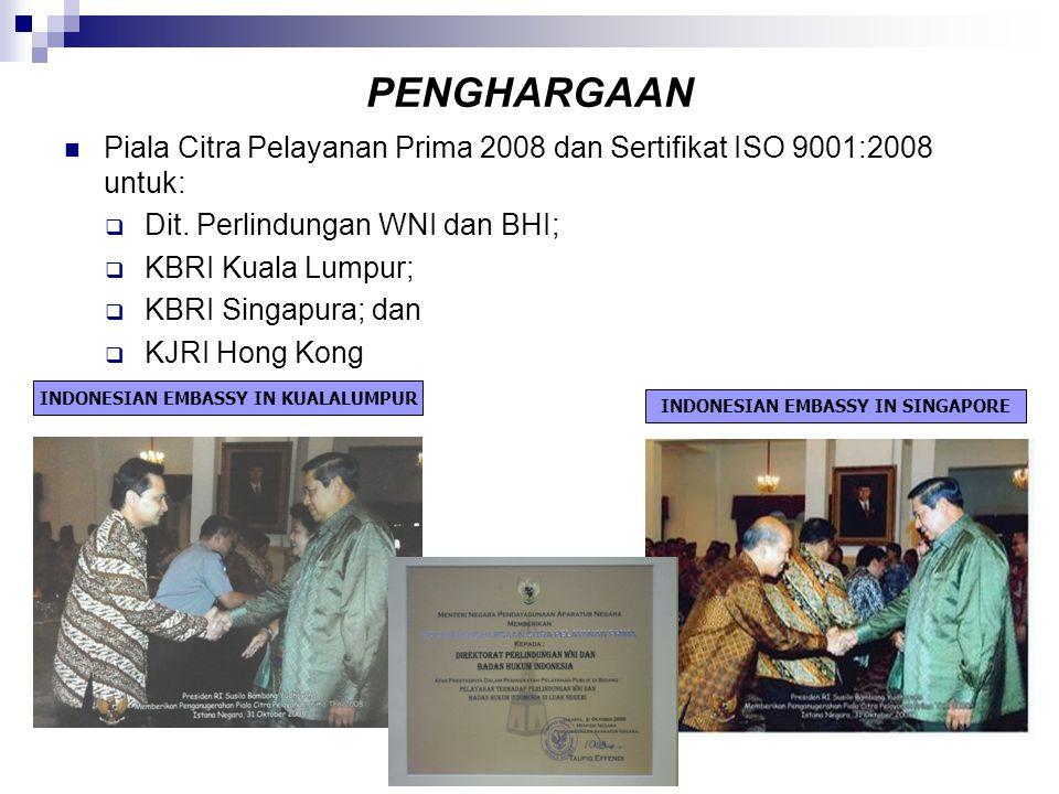 PENGHARGAAN  Piala Citra Pelayanan Prima 2008 dan Sertifikat ISO 9001:2008 untuk:  Dit. Perlindungan WNI dan BHI;  KBRI Kuala Lumpur;  KBRI Singap