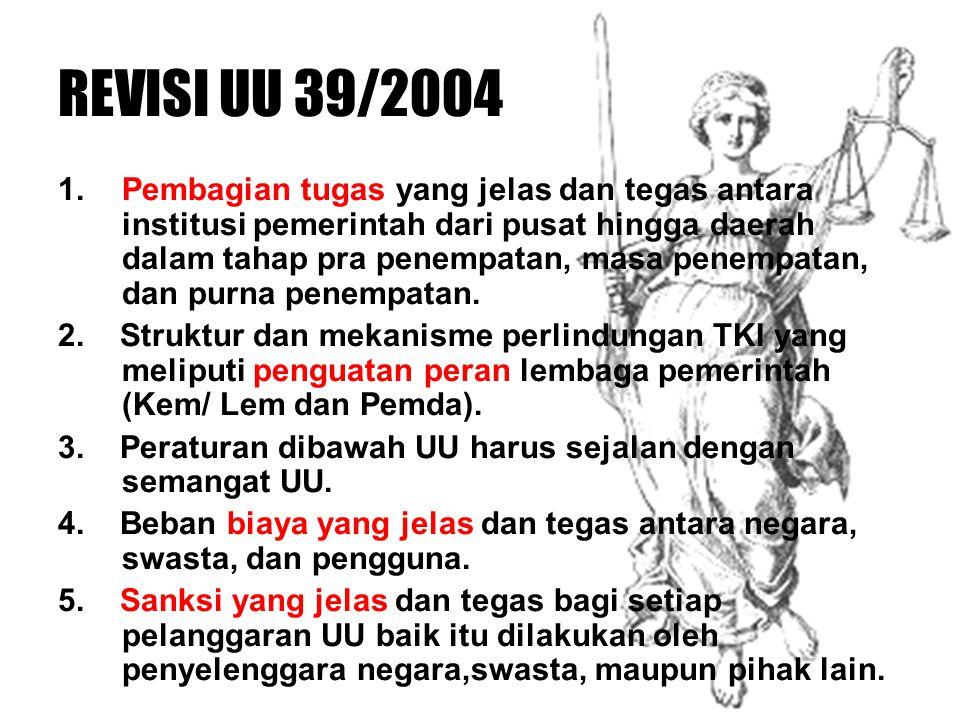 REVISI UU 39/2004 1. Pembagian tugas yang jelas dan tegas antara institusi pemerintah dari pusat hingga daerah dalam tahap pra penempatan, masa penemp