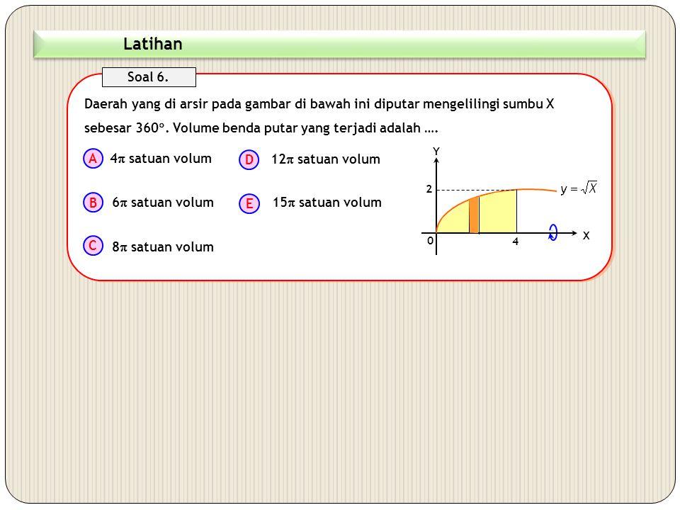 ( Jawaban D )  V  2  x  x  x Daerah yang di arsir pada gambar di bawah ini diputar mengelilingi sumbu Y sebesar 360 . Jika digunakan metode kuli