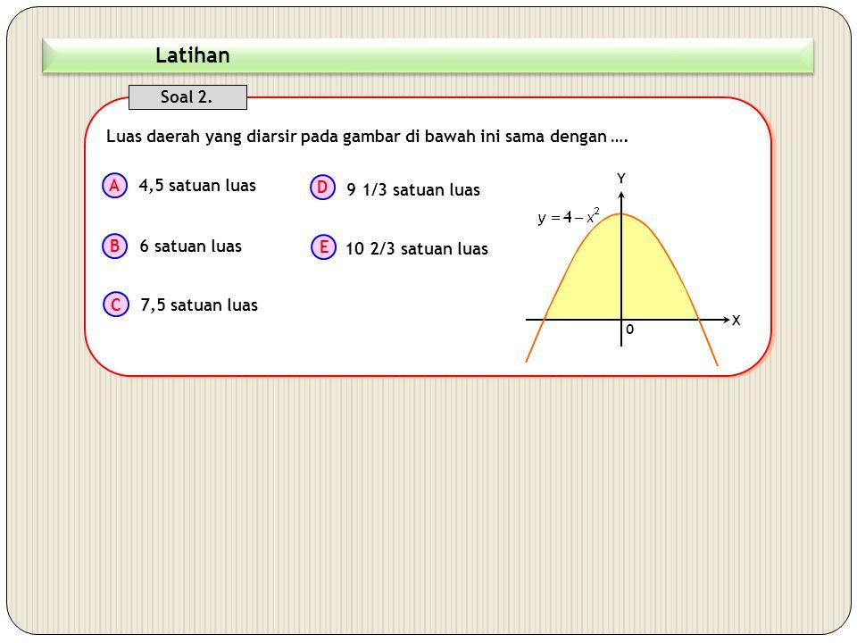 Luas daerah yang diarsir pada gambar di bawah ini dapat dinyatakan dalam bentuk integral sebagai.... Soal 1. A B C D E 0 X Y 2 4 xx x 4 - x 2  L 