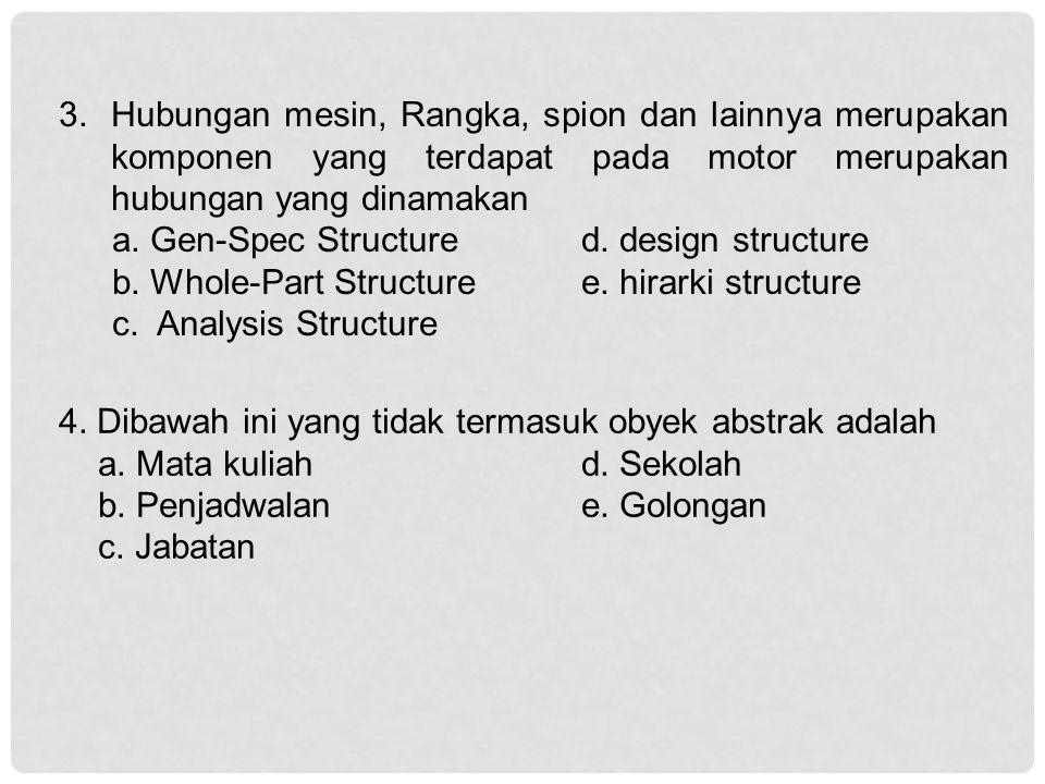 3.Hubungan mesin, Rangka, spion dan lainnya merupakan komponen yang terdapat pada motor merupakan hubungan yang dinamakan a.