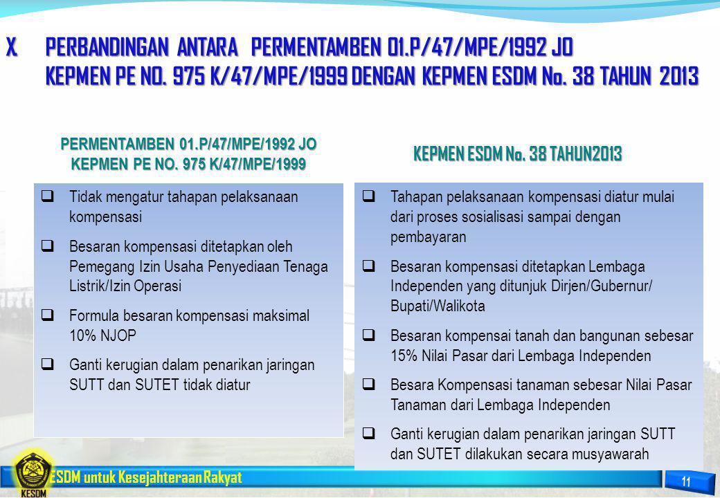 ESDM untuk Kesejahteraan Rakyat X.PERBANDINGAN ANTARA PERMENTAMBEN 01.P/47/MPE/1992 JO KEPMEN PE NO. 975 K/47/MPE/1999 DENGAN KEPMEN ESDM No. 38 TAHUN