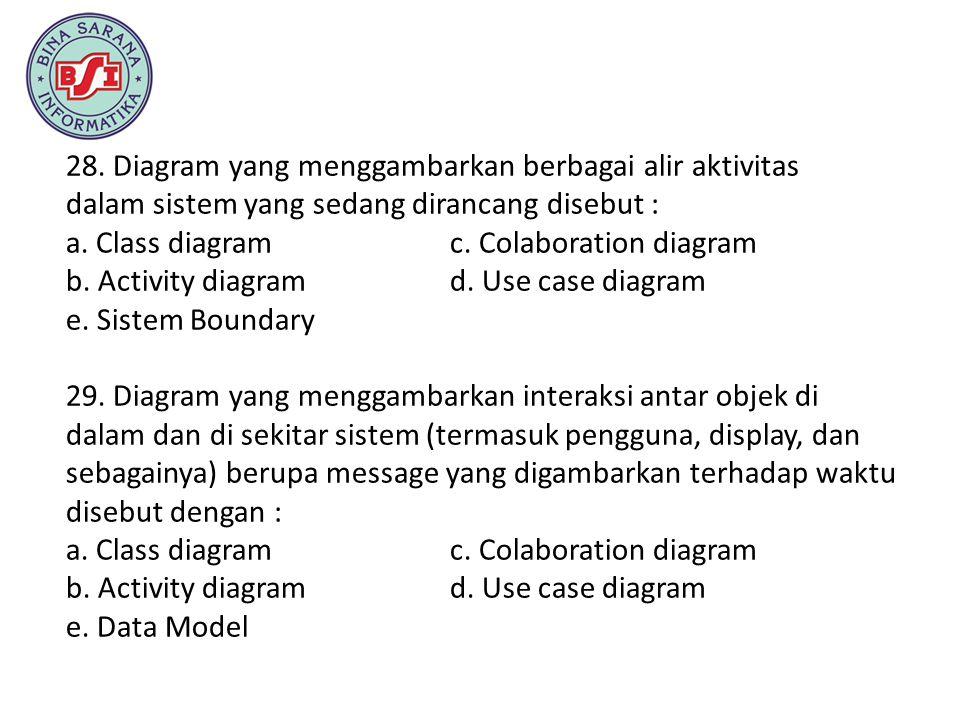 28. Diagram yang menggambarkan berbagai alir aktivitas dalam sistem yang sedang dirancang disebut : a. Class diagram c. Colaboration diagram b. Activi