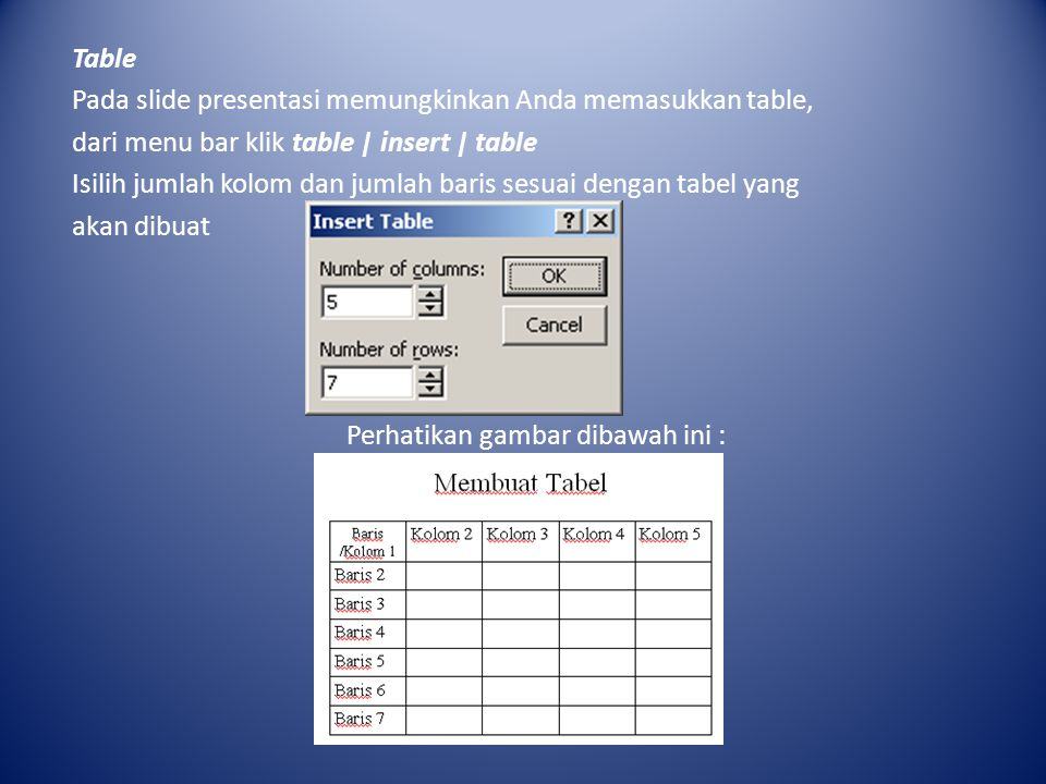 Table Pada slide presentasi memungkinkan Anda memasukkan table, dari menu bar klik table | insert | table Isilih jumlah kolom dan jumlah baris sesuai