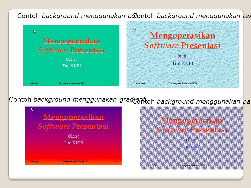 Contoh background menggunakan color Contoh background menggunakan gradient Contoh background menggunakan texture Contoh background menggunakan pattern