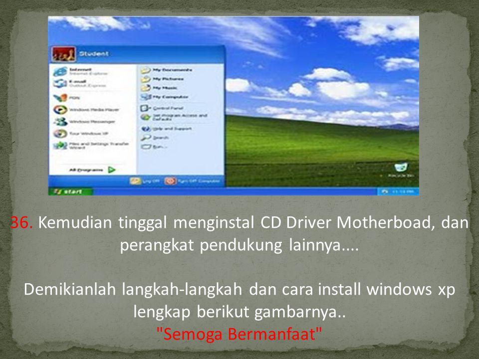 36.Kemudian tinggal menginstal CD Driver Motherboad, dan perangkat pendukung lainnya....
