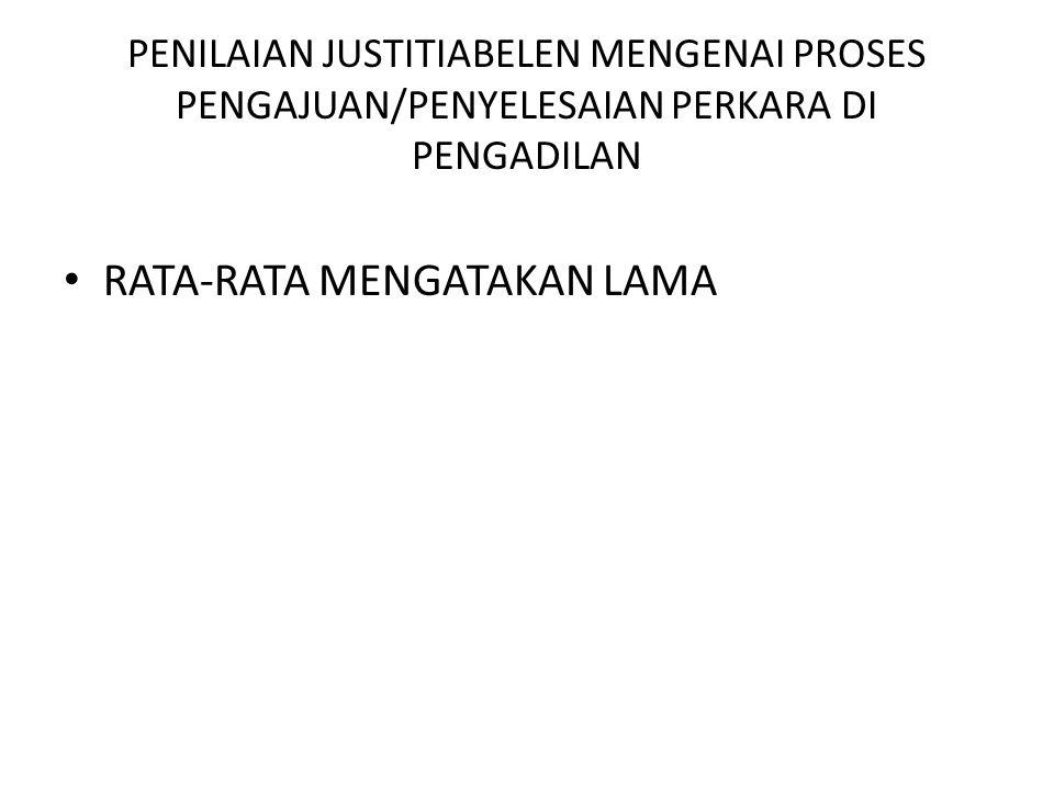 PENILAIAN JUSTITIABELEN MENGENAI PROSES PENGAJUAN/PENYELESAIAN PERKARA DI PENGADILAN • RATA-RATA MENGATAKAN LAMA