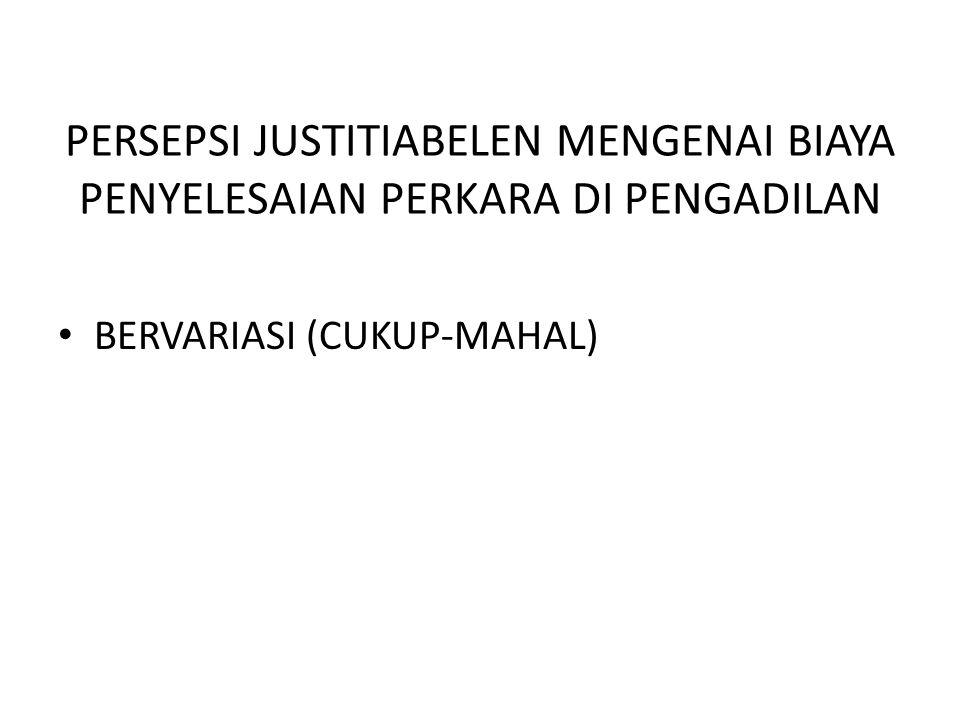 PERSEPSI JUSTITIABELEN MENGENAI BIAYA PENYELESAIAN PERKARA DI PENGADILAN • BERVARIASI (CUKUP-MAHAL)