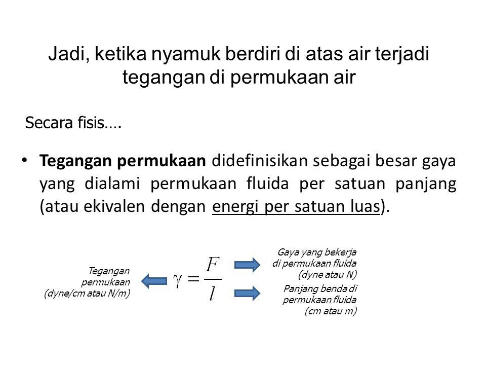 • Tegangan permukaan didefinisikan sebagai besar gaya yang dialami permukaan fluida per satuan panjang (atau ekivalen dengan energi per satuan luas).