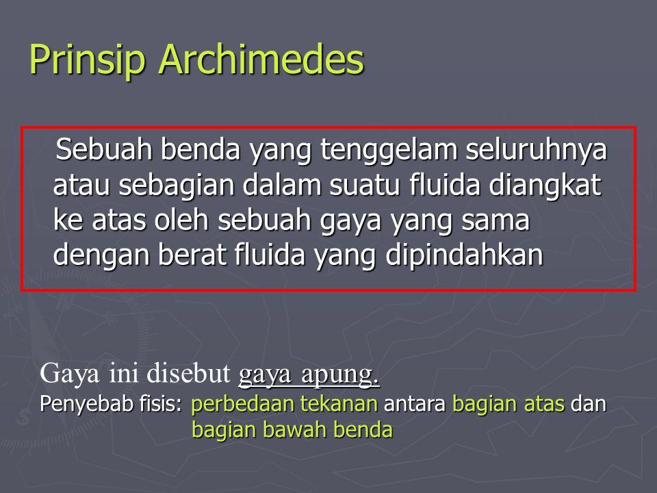 Prinsip Archimedes Sebuah benda yang tenggelam seluruhnya atau sebagian dalam suatu fluida diangkat ke atas oleh sebuah gaya yang sama dengan berat fl