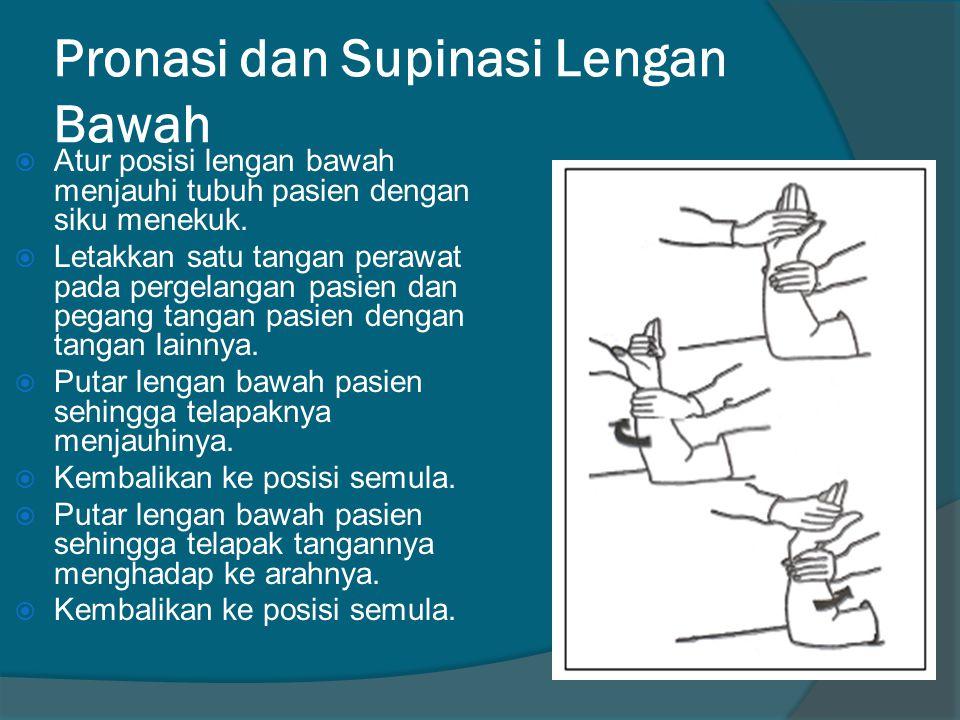 Pronasi dan Supinasi Lengan Bawah  Atur posisi lengan bawah menjauhi tubuh pasien dengan siku menekuk.