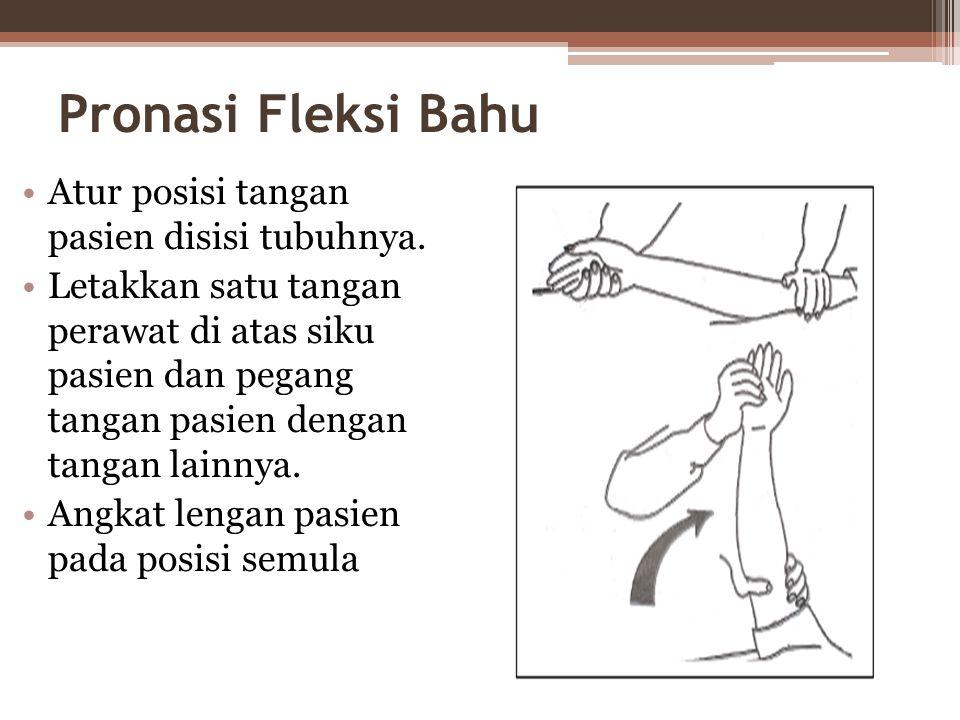 Pronasi Fleksi Bahu •Atur posisi tangan pasien disisi tubuhnya.