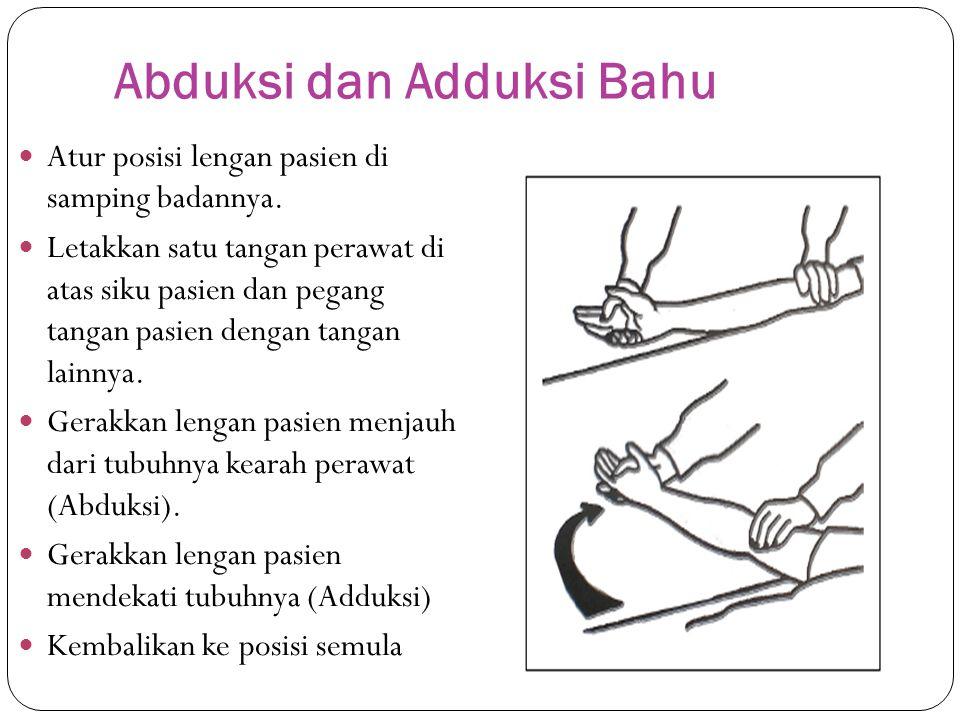 Abduksi dan Adduksi Bahu  Atur posisi lengan pasien di samping badannya.