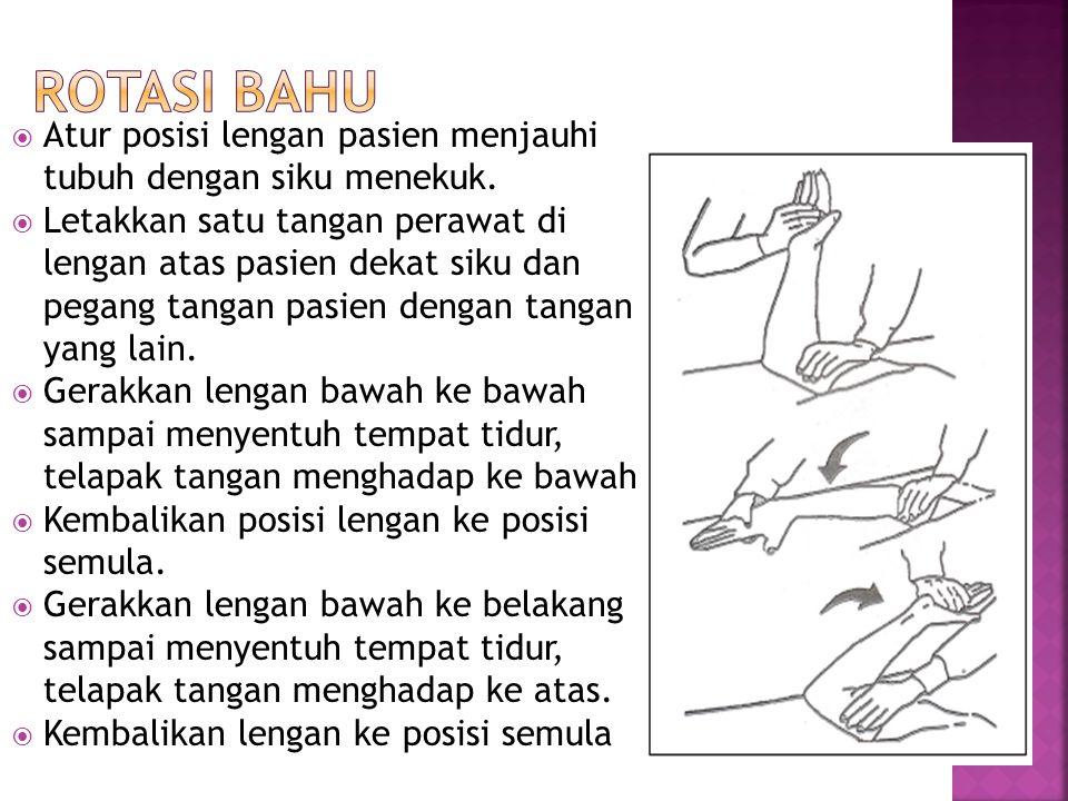  Atur posisi lengan pasien menjauhi tubuh dengan siku menekuk.