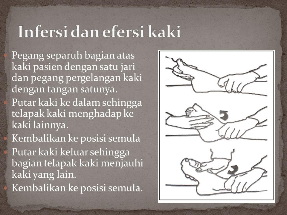  Pegang separuh bagian atas kaki pasien dengan satu jari dan pegang pergelangan kaki dengan tangan satunya.