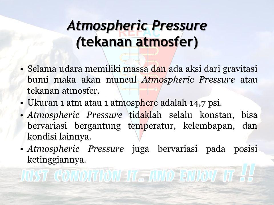 Atmospheric Pressure (tekanan atmosfer) •Selama udara memiliki massa dan ada aksi dari gravitasi bumi maka akan muncul Atmospheric Pressure atau tekan