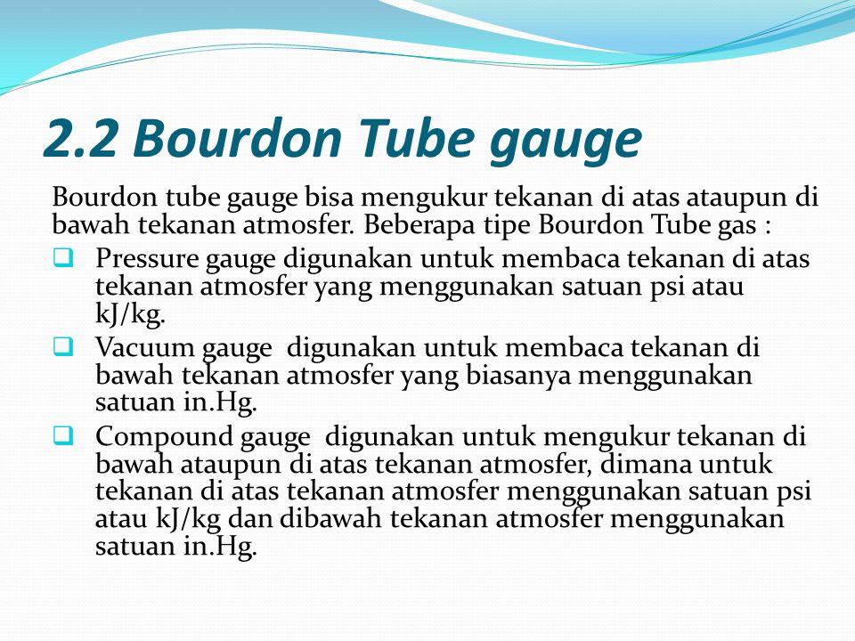 2.2 Bourdon Tube gauge Bourdon tube gauge bisa mengukur tekanan di atas ataupun di bawah tekanan atmosfer. Beberapa tipe Bourdon Tube gas :  Pressure