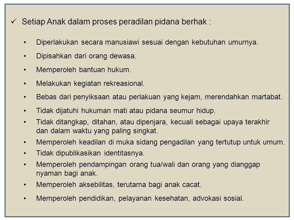  Setiap Anak dalam proses peradilan pidana berhak : •Diperlakukan secara manusiawi sesuai dengan kebutuhan umurnya. •Dipisahkan dari orang dewasa. •M