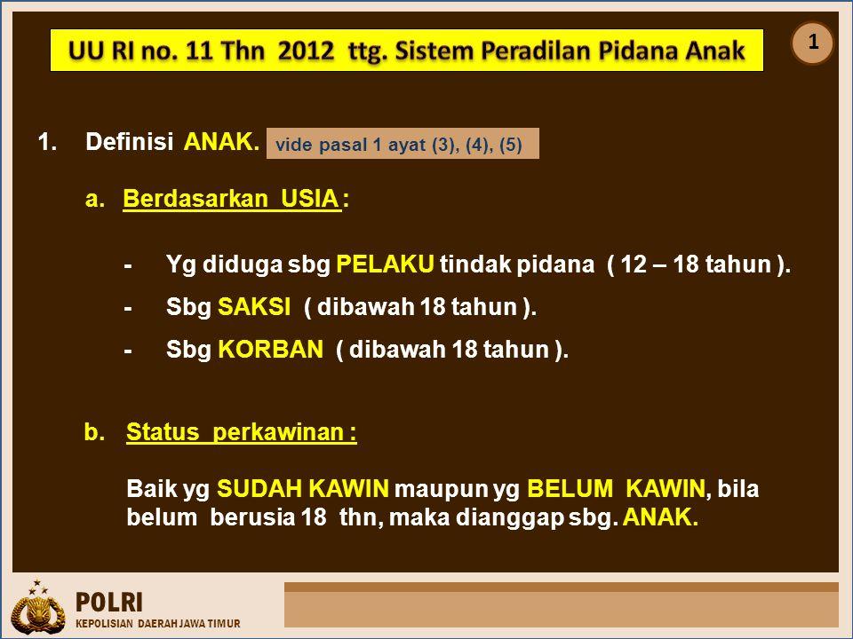 INP INDONESIA NATIONAL POLICE PASAL 10 (1)Kemampuan pelaksanaan tugas di Unit PPA meliputi pelayanan dlm bentuk perlindungan thd korban TP dan gakkum thd pelakunya.
