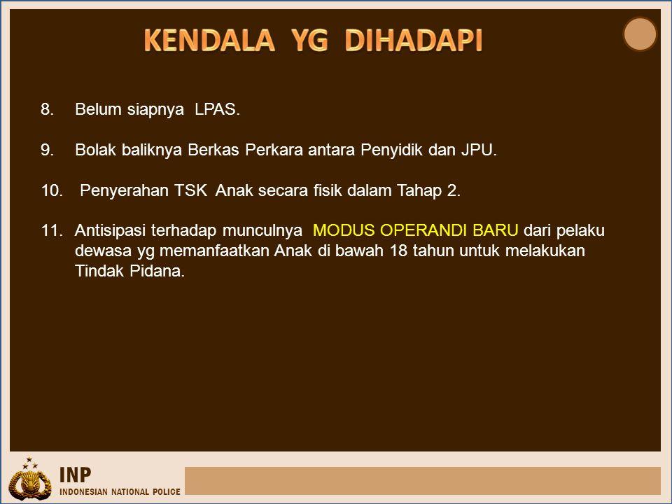 INP INDONESIAN NATIONAL POLICE 8.Belum siapnya LPAS. 9.Bolak baliknya Berkas Perkara antara Penyidik dan JPU. 10. Penyerahan TSK Anak secara fisik dal