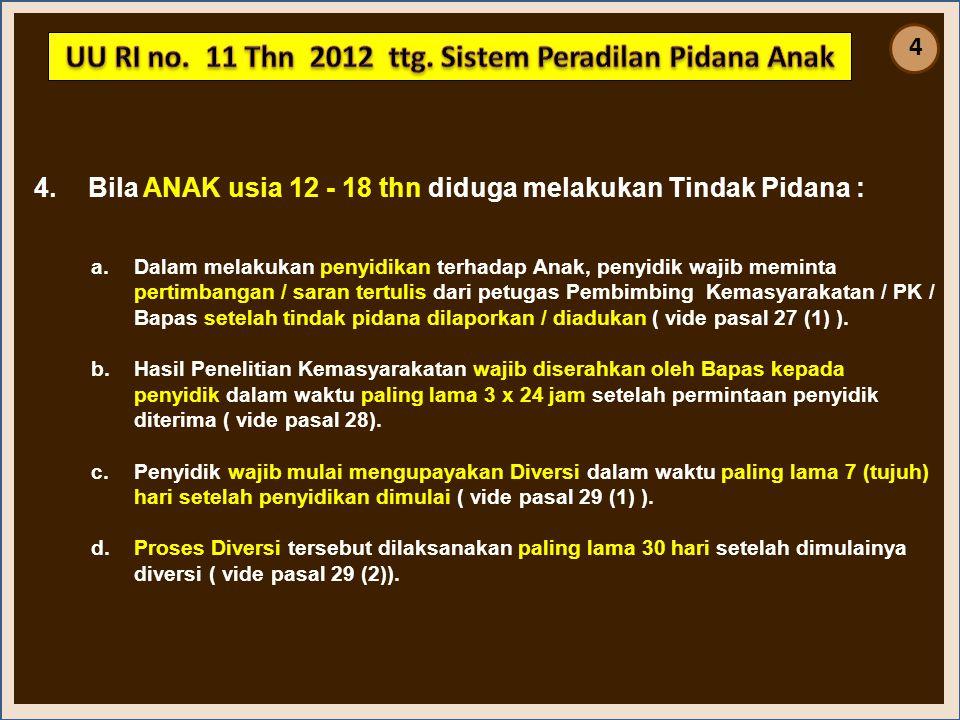 4.Bila ANAK usia 12 - 18 thn diduga melakukan Tindak Pidana : a.Dalam melakukan penyidikan terhadap Anak, penyidik wajib meminta pertimbangan / saran