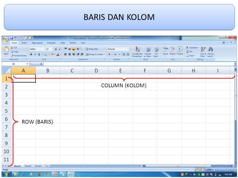 Kolom Pada Lembar Kerja Microsoft Office Excel 2007 tersedia dari A - XFD, nilai yang dapat dimasukan untuk mengatur lebar kolom yaitu dari mulai 0 – 255.