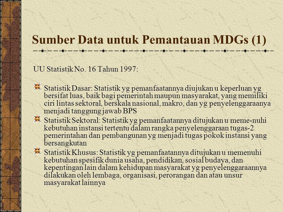 Sumber Data untuk Pemantauan MDGs (1) UU Statistik No. 16 Tahun 1997: Statistik Dasar: Statistik yg pemanfaatannya diujukan u keperluan yg bersifat l
