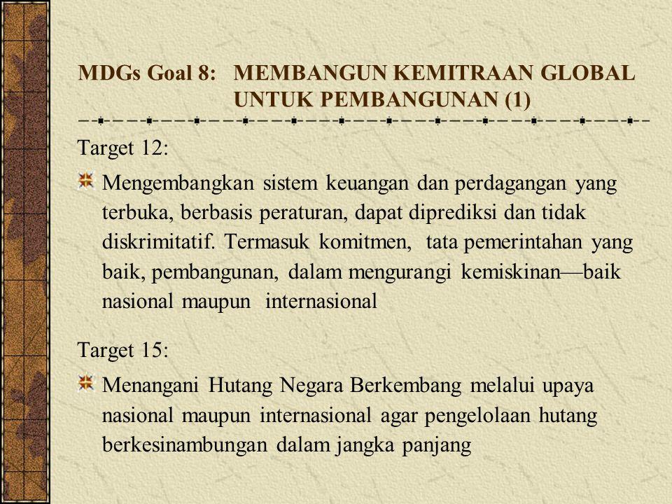 MDGs Goal 8: MEMBANGUN KEMITRAAN GLOBAL UNTUK PEMBANGUNAN (1) Target 12: Mengembangkan sistem keuangan dan perdagangan yang terbuka, berbasis peratur