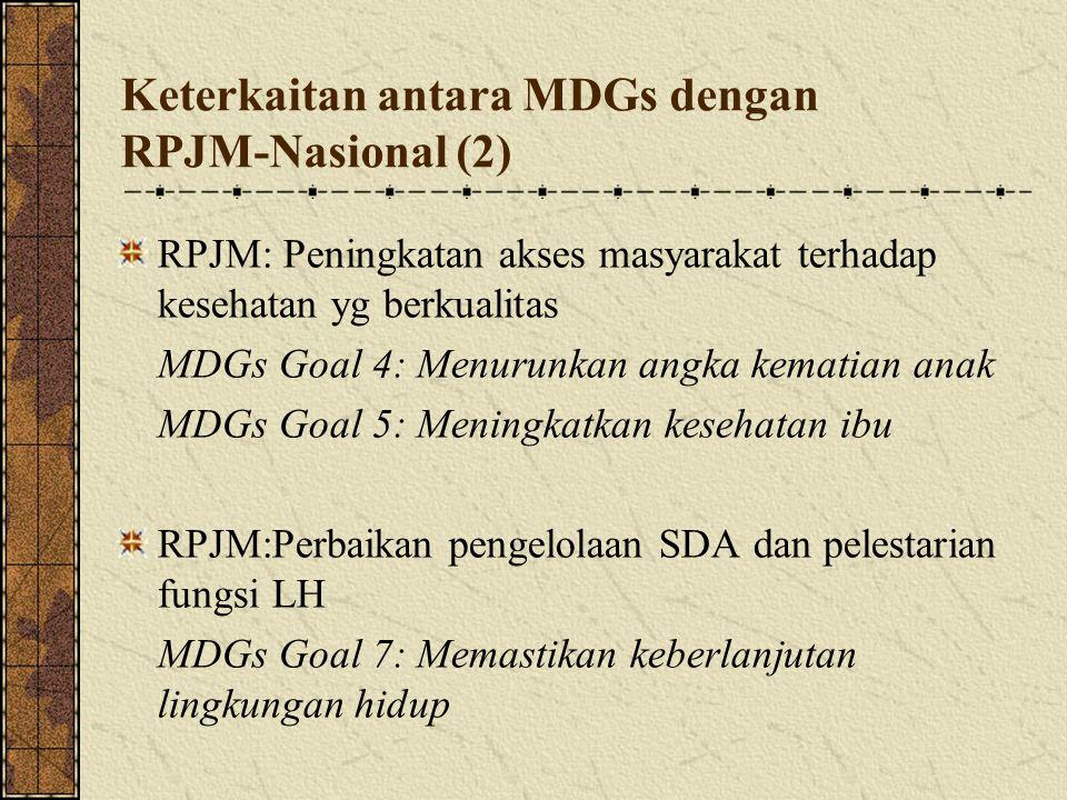 Keterkaitan antara MDGs dengan RPJM-Nasional (2) RPJM: Peningkatan akses masyarakat terhadap kesehatan yg berkualitas MDGs Goal 4: Menurunkan angka k