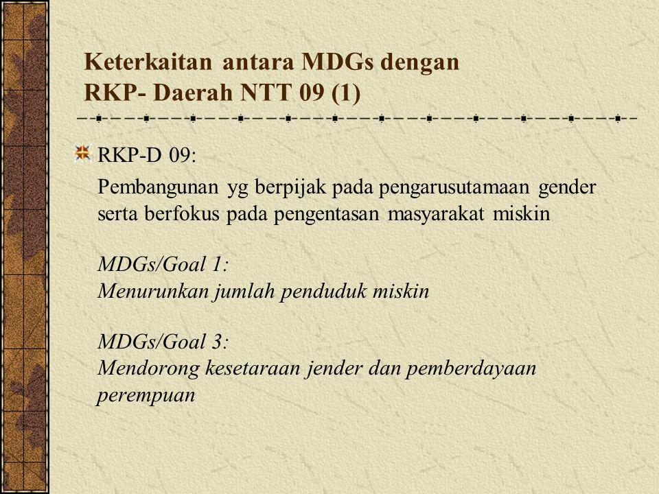 Keterkaitan antara MDGs dengan RKP- Daerah NTT 09 (1) RKP-D 09: Pembangunan yg berpijak pada pengarusutamaan gender serta berfokus pada pengentasan m