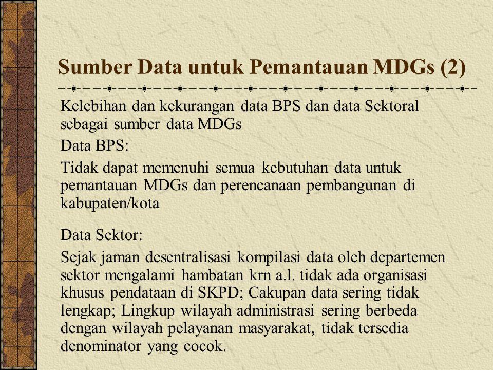 Sumber Data untuk Pemantauan MDGs (2) Kelebihan dan kekurangan data BPS dan data Sektoral sebagai sumber data MDGs Data BPS: Tidak dapat memenuhi sem
