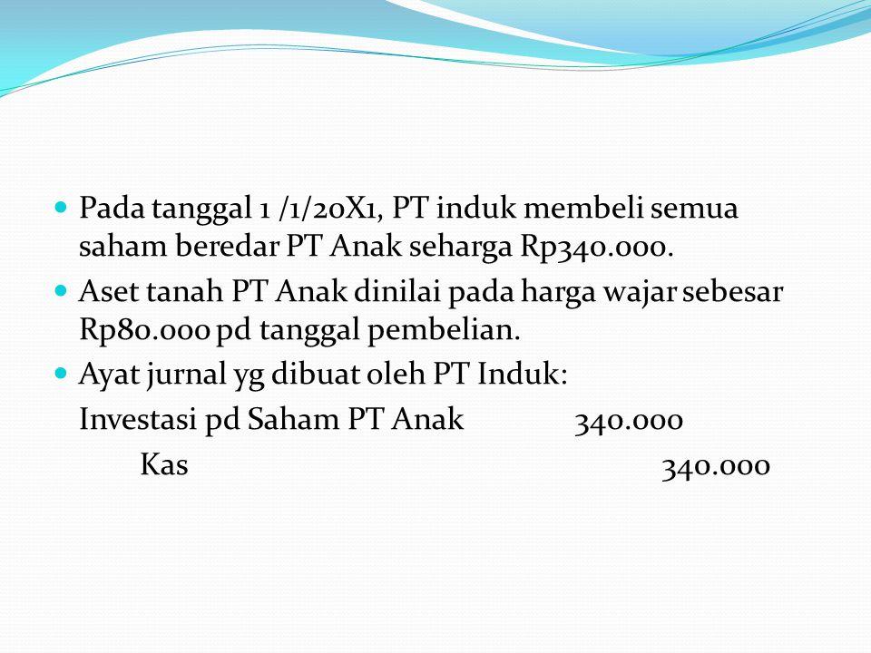  Pada tanggal 1 /1/20X1, PT induk membeli semua saham beredar PT Anak seharga Rp340.000.