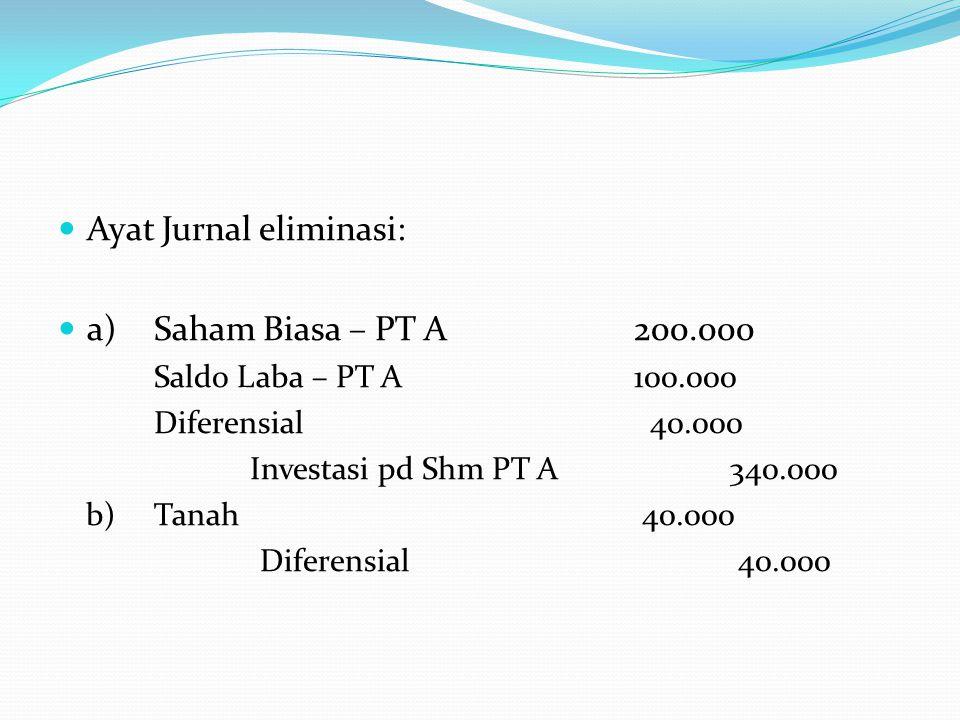  Ayat Jurnal eliminasi:  a) Saham Biasa – PT A200.000 Saldo Laba – PT A100.000 Diferensial 40.000 Investasi pd Shm PT A340.000 b) Tanah 40.000 Diferensial 40.000