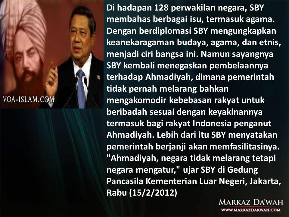 Di hadapan 128 perwakilan negara, SBY membahas berbagai isu, termasuk agama. Dengan berdiplomasi SBY mengungkapkan keanekaragaman budaya, agama, dan e