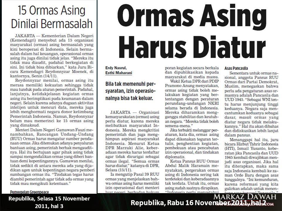 Republika, Rabu 16 November 2011, hal 2 Republika, Selasa 15 November 2011, hal 3