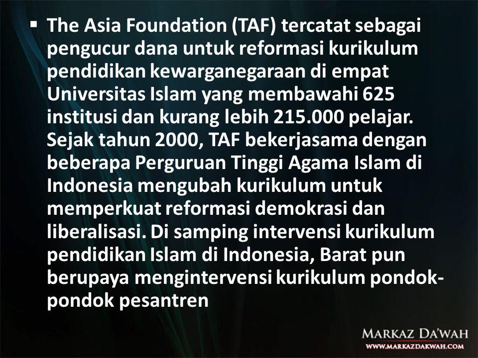  The Asia Foundation (TAF) tercatat sebagai pengucur dana untuk reformasi kurikulum pendidikan kewarganegaraan di empat Universitas Islam yang membaw