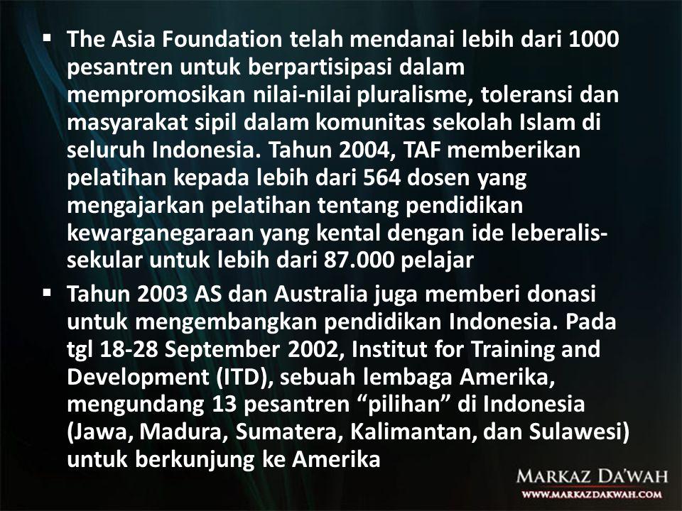  The Asia Foundation telah mendanai lebih dari 1000 pesantren untuk berpartisipasi dalam mempromosikan nilai-nilai pluralisme, toleransi dan masyarak